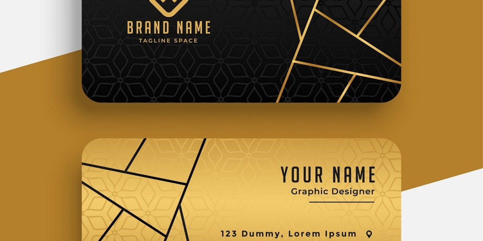 Geomec Black And Gold Business Card Template