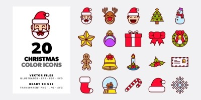 20 Christmas Color Icons