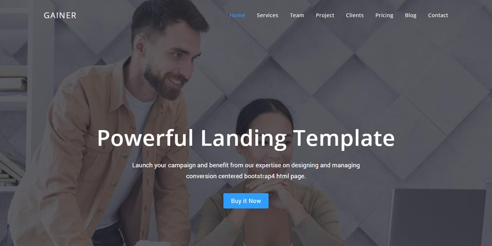 Gain - Website Landing Template