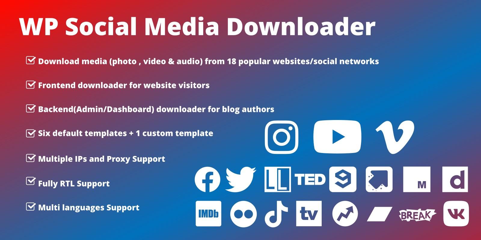 WordPress Social Media Downloader Plugin