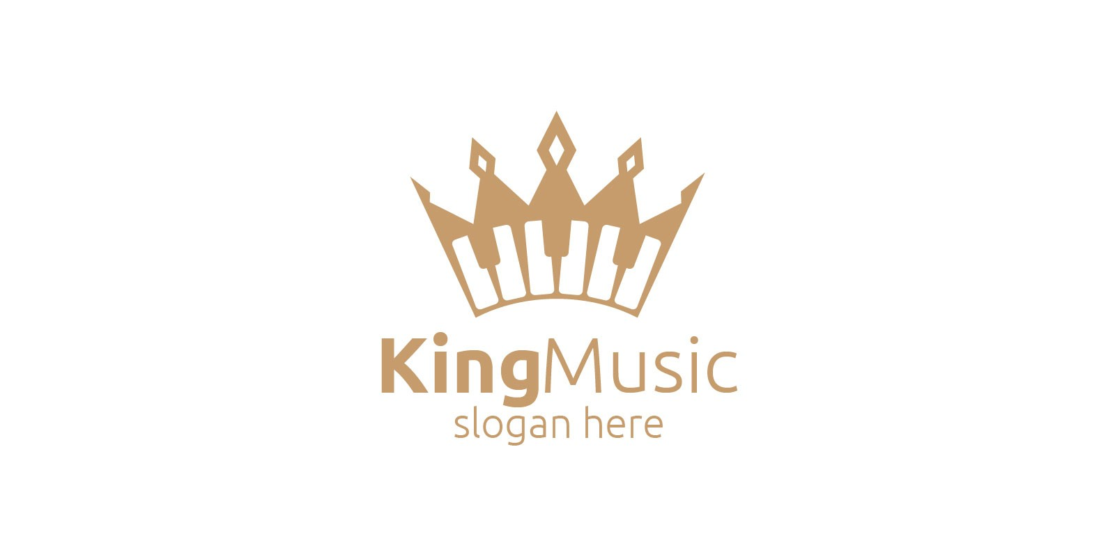 Music Logo with King and Piano Concept