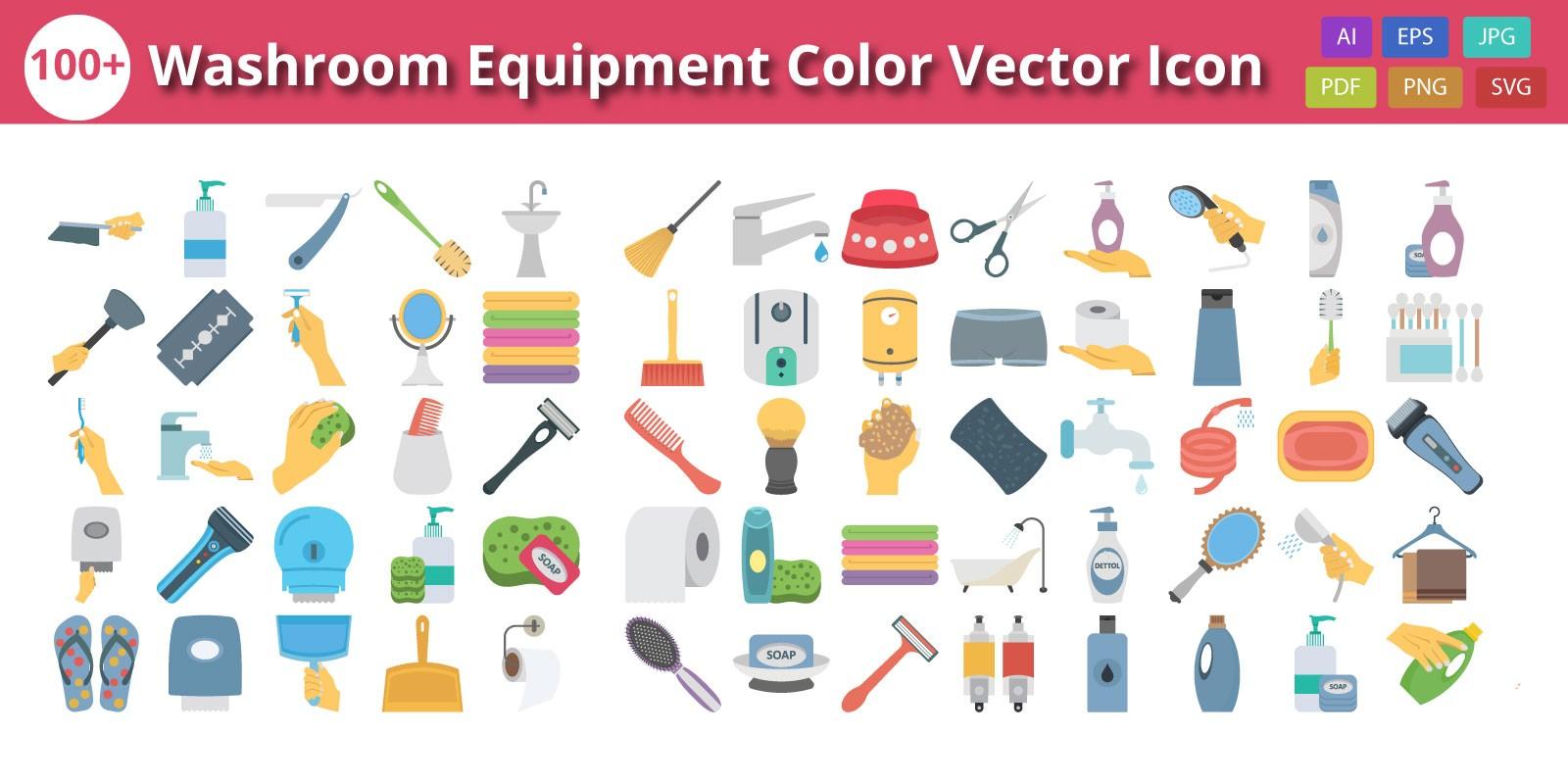 Washroom Equipment Color Vector Icon