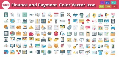 Finance Payment and Banking Color Isolated Vector