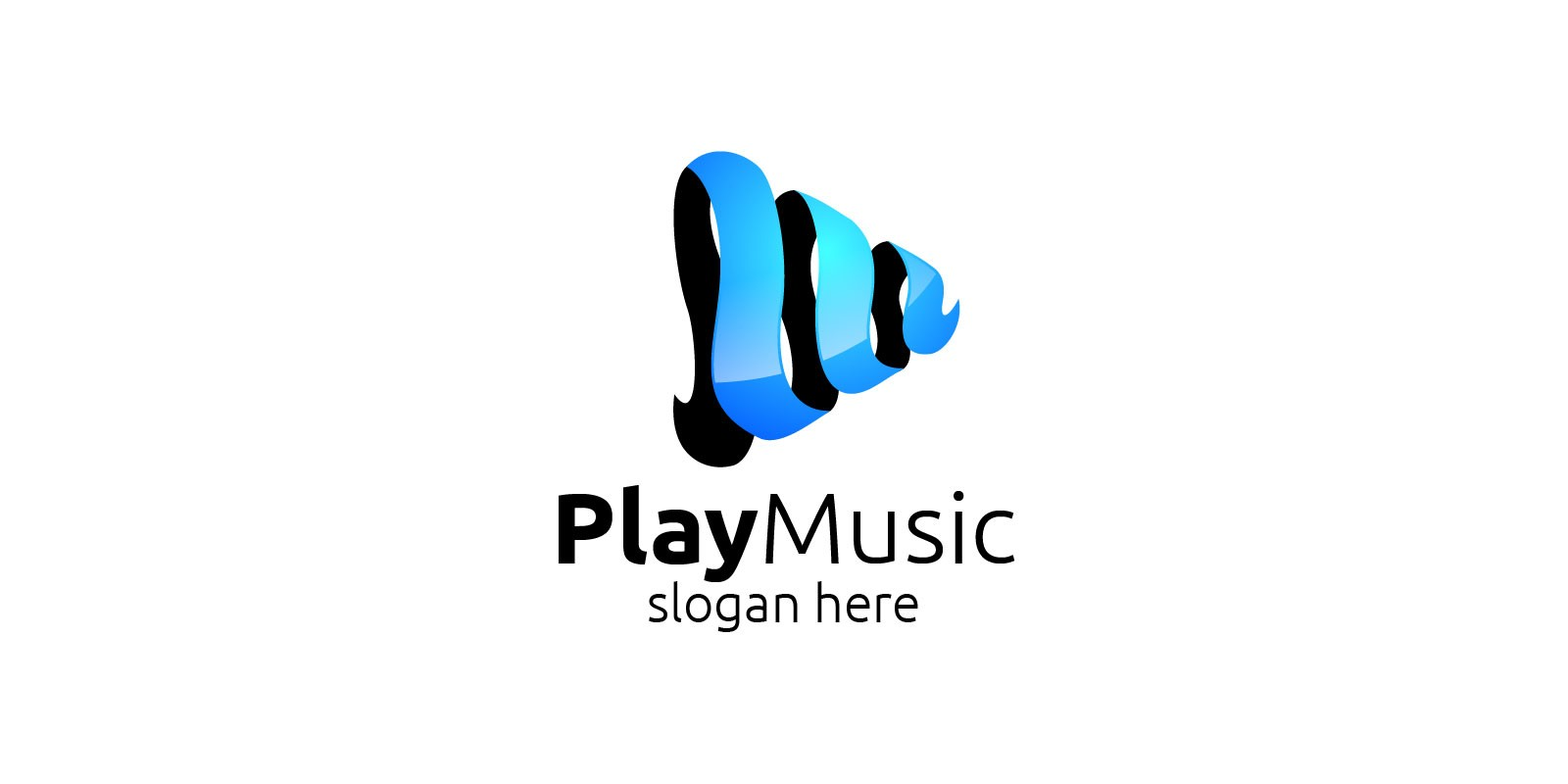 Music Logo With Note And Play Concept