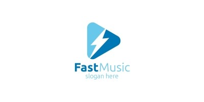 Music Logo with Fast and Play Concept
