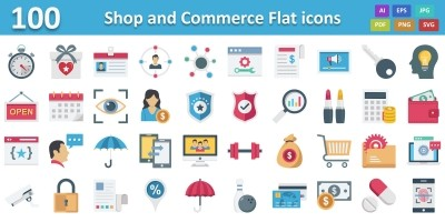 Shop and Commerce Color Vector icon