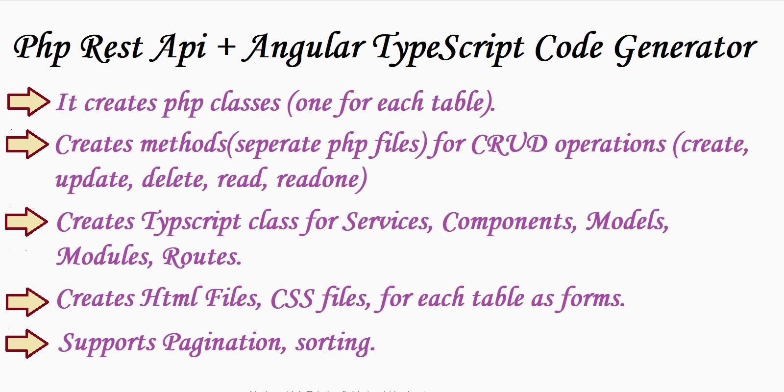 PHP Rest Api And Angular TypeScript Code Generator