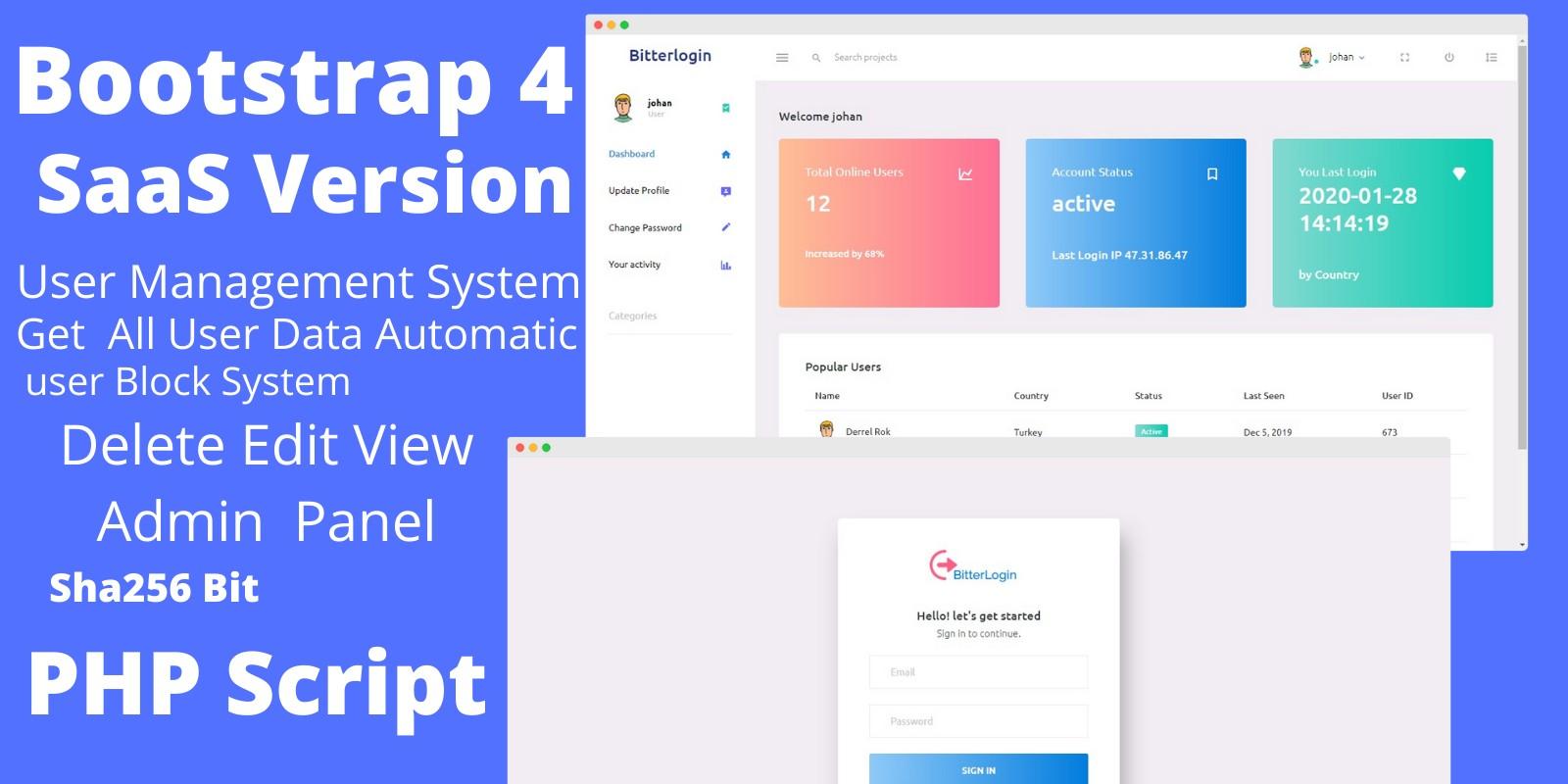 BitLogin - Saas PHP User management System