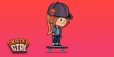 Skater Girl 2D Game Character Sprites