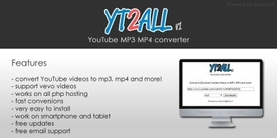 YT2ALL YouTube MP3 MP4 Converter PHP Script