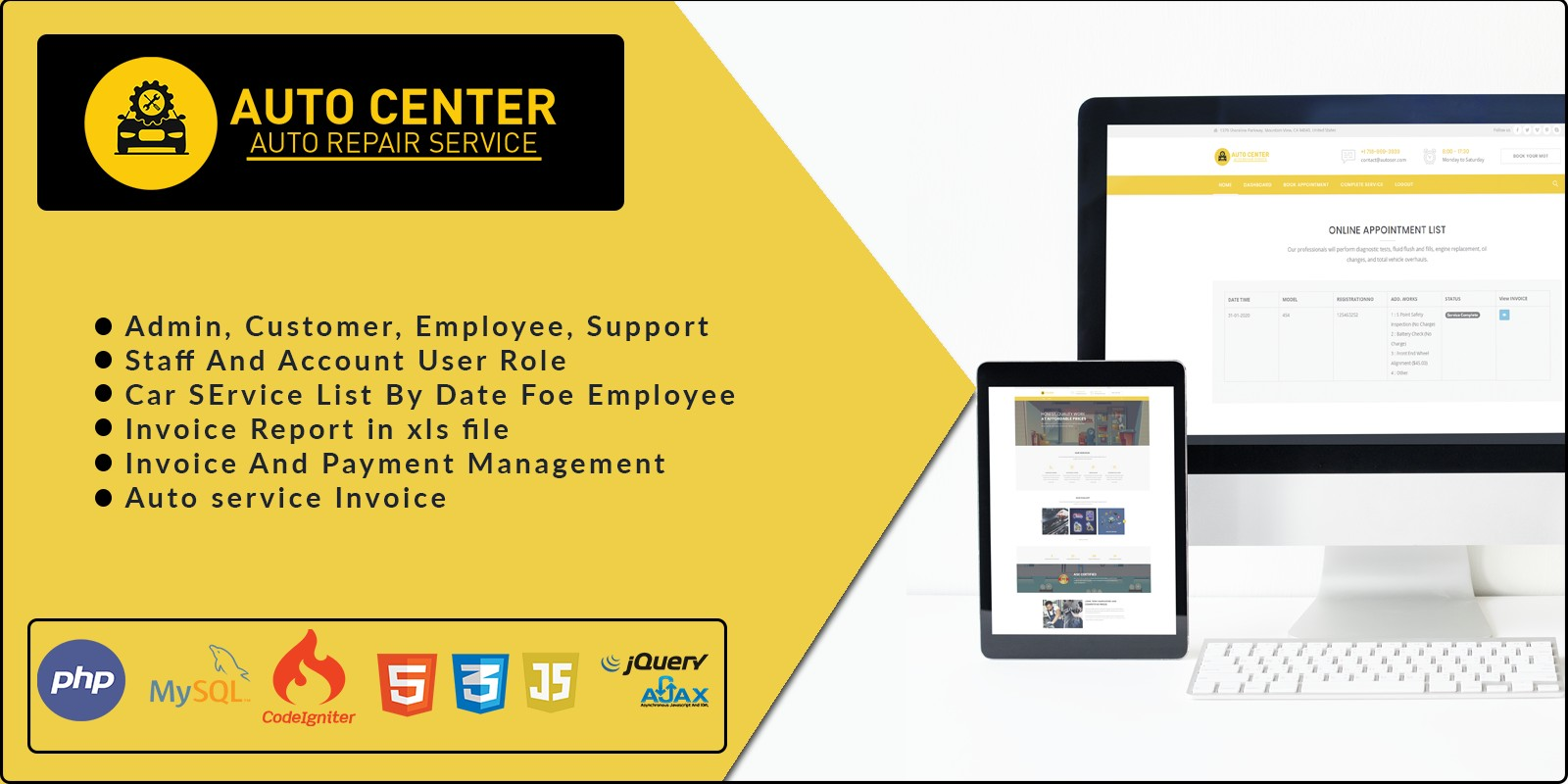 Auto Center - Garage Management Software PHP