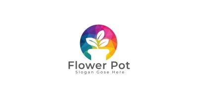 Flower Pot Logo Design