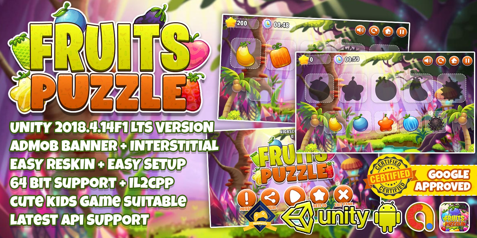 Fruits Puzzle For Kids - Unity3D Project