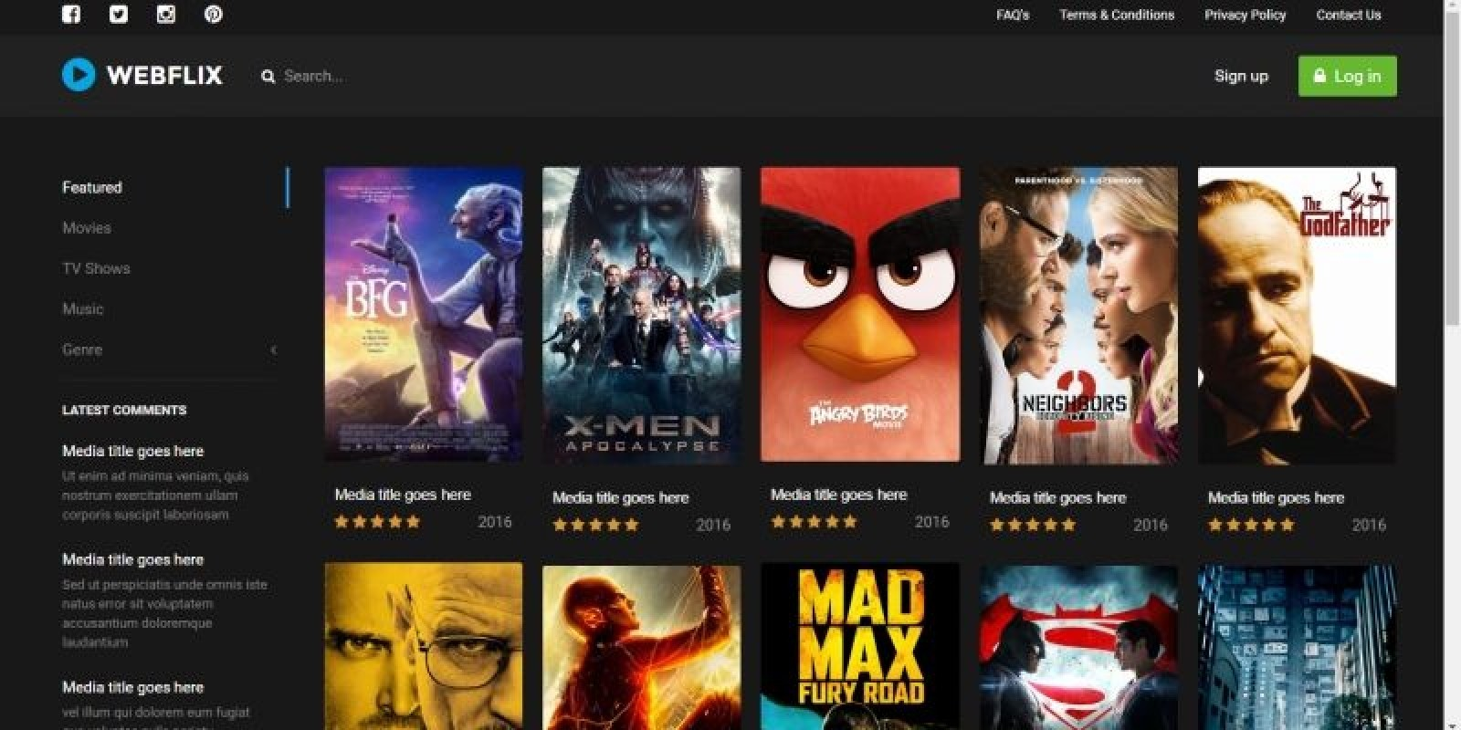 Webflix - Streaming Media HTML Template - HTML Entertainment Website ...