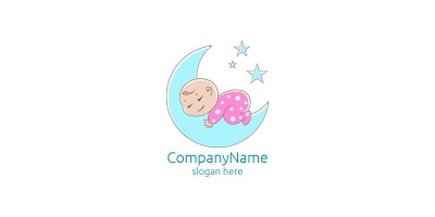 Cute Baby Sleep Logo Design for Babyshop