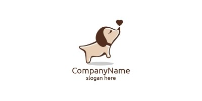 Dog With Love Vector Logo For Pet Shop
