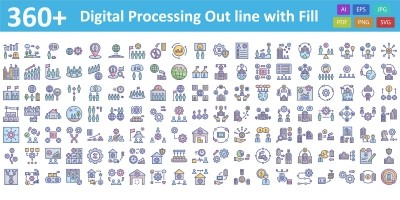 Digital processing Vector icon