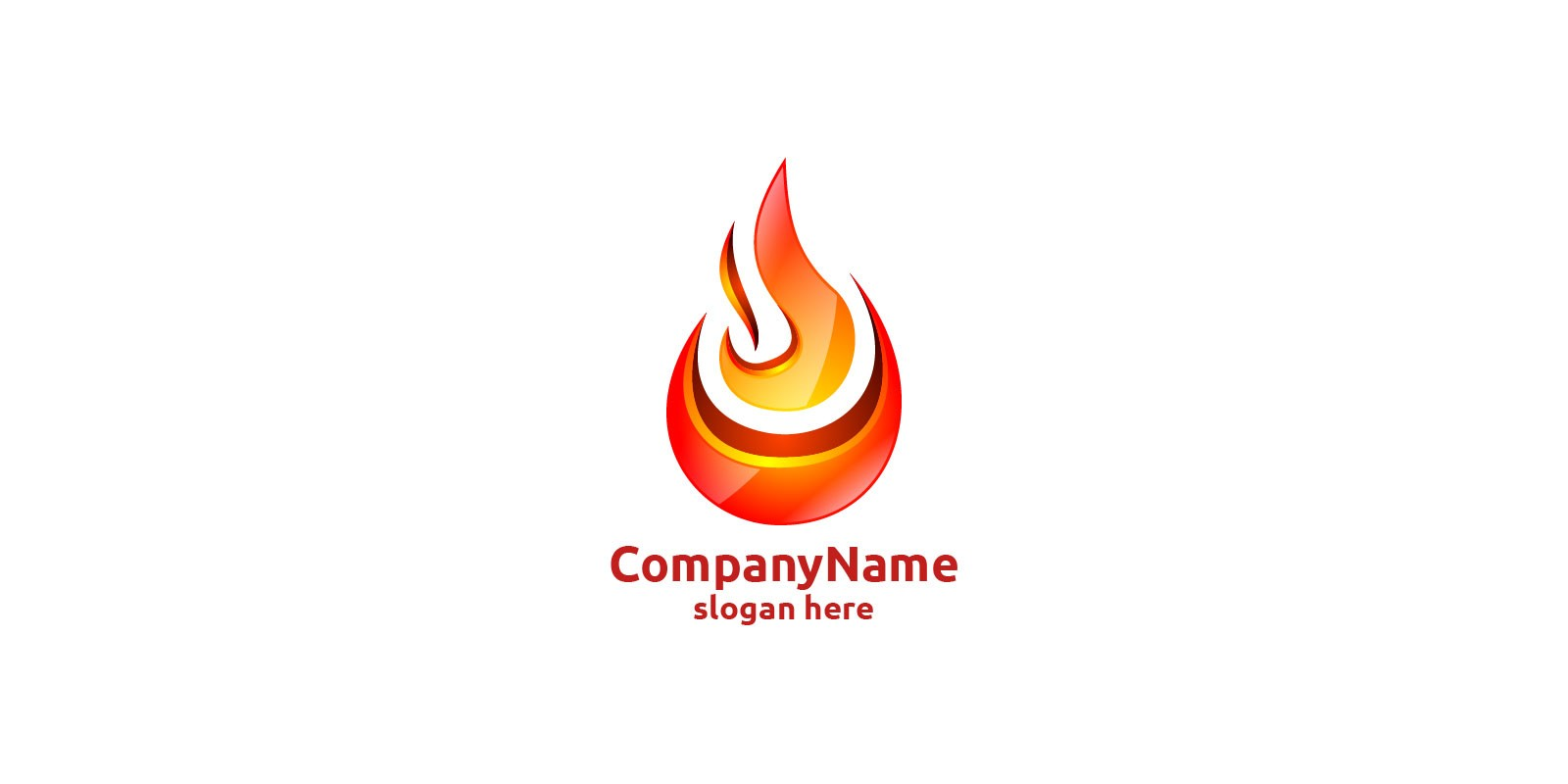 3D Fire Flame Element Logo Design
