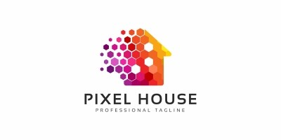 Colorful Pixel House  Logo