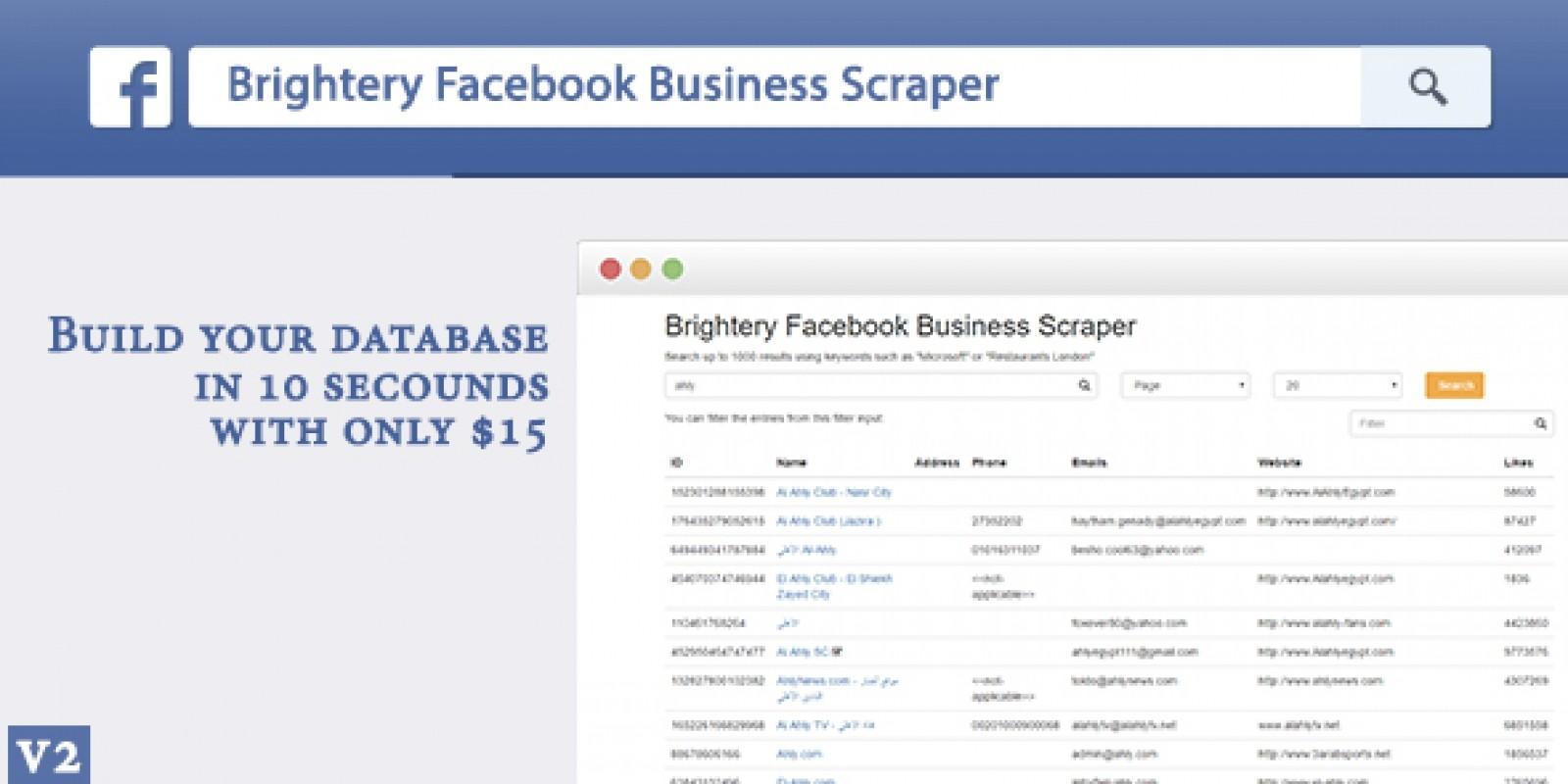 Brightery Basic Facebook Business Scraper