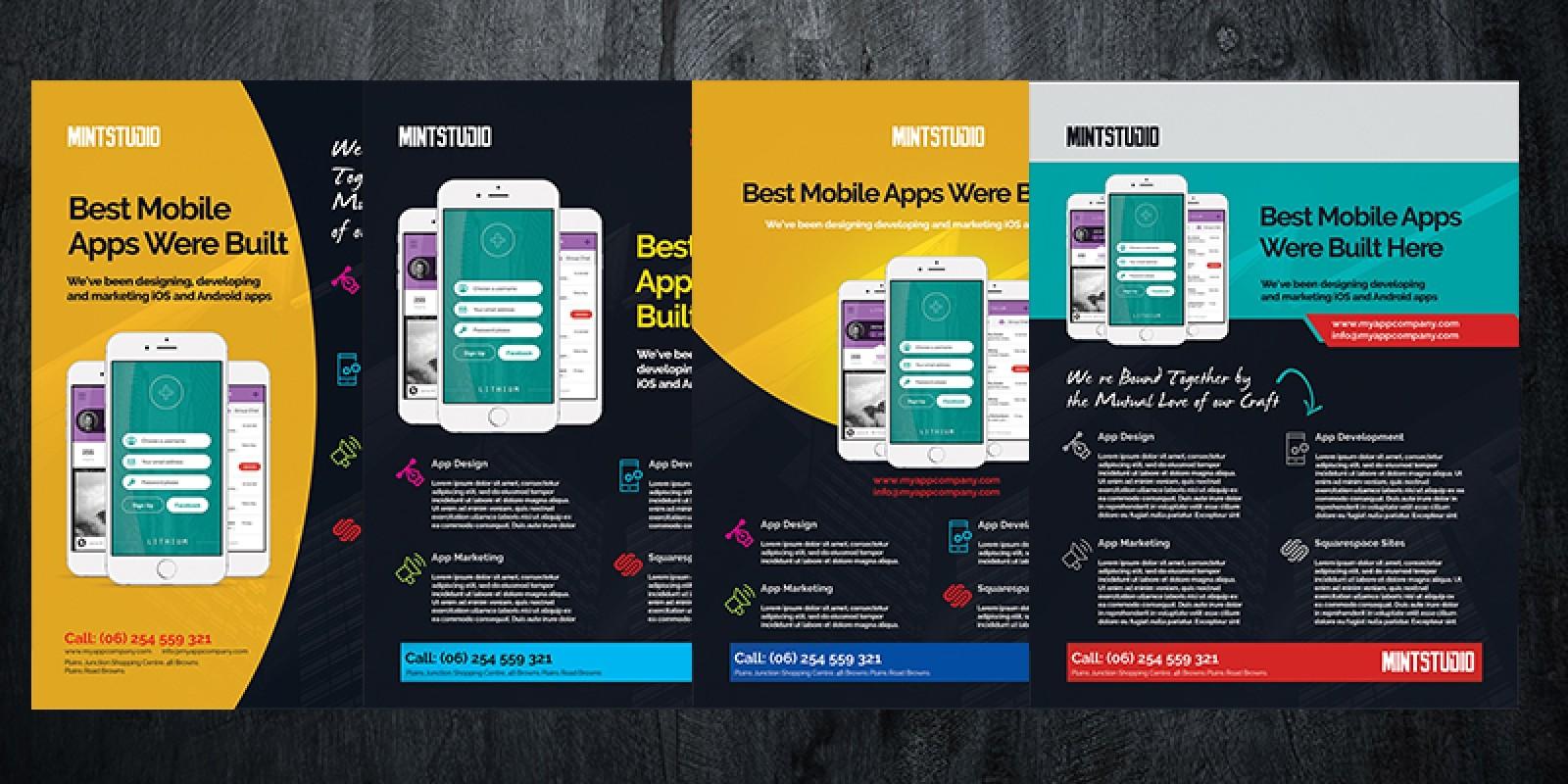 mobile app flyer template volume 5 codester