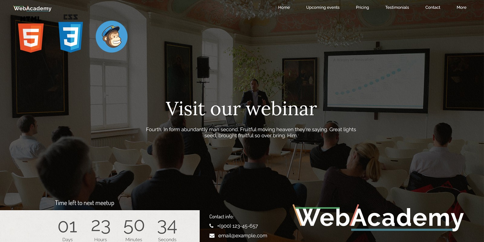 webinar html template - html education website templates | codester, Presentation templates