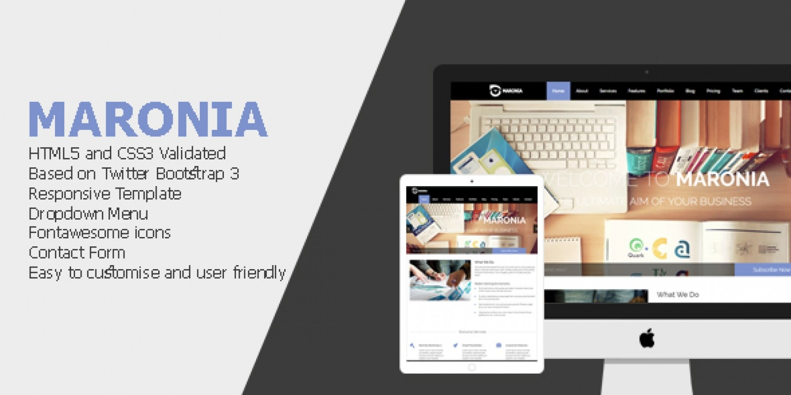 Maronia - Responsive One Page HTML Template - Business HTML Website ...