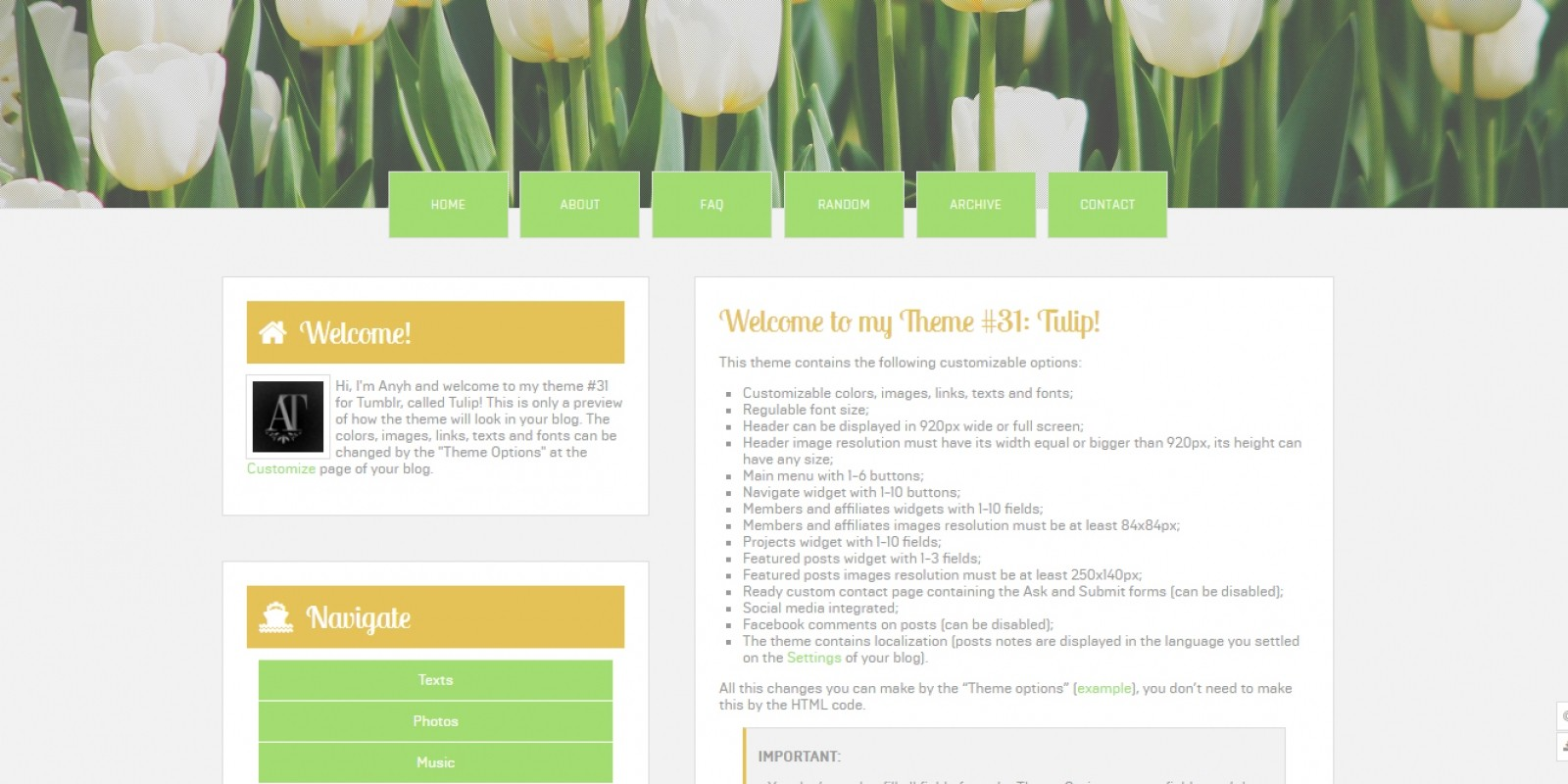 Tulip - Tumblr Theme