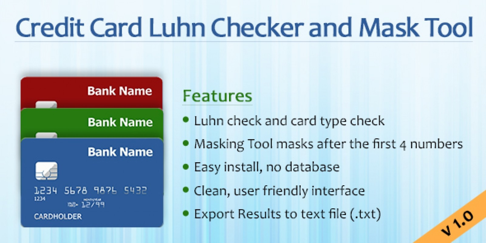 Credit Card Luhn Checker And Masking Script