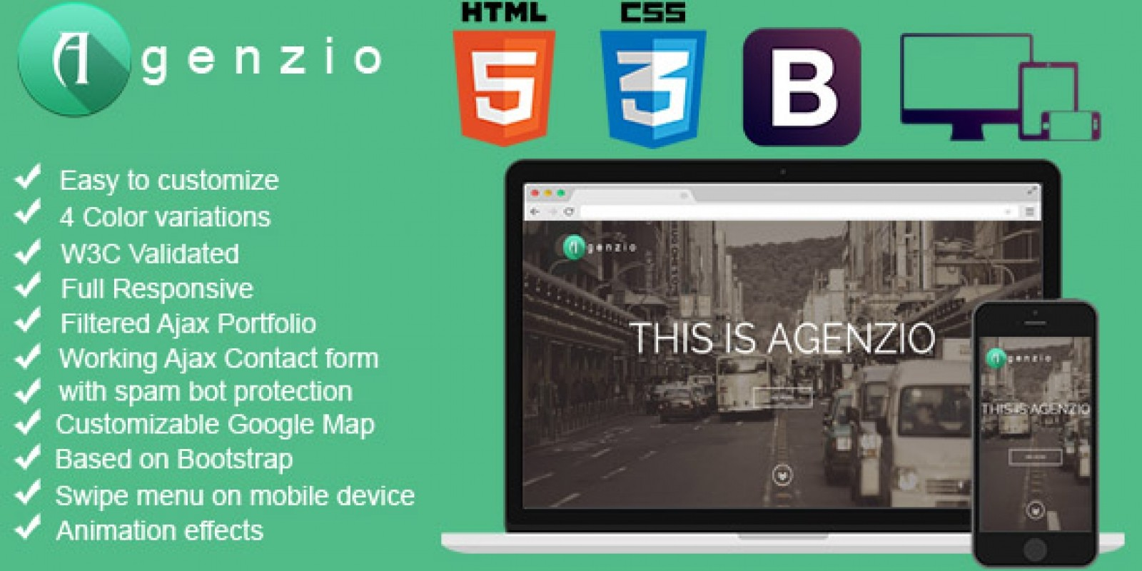 Agenzio - One Page HTML5 responsive Template
