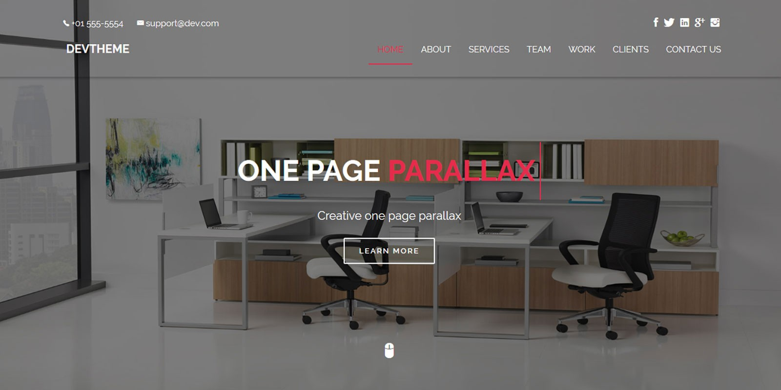 Devtheme One Page Parallax Html Template Codester