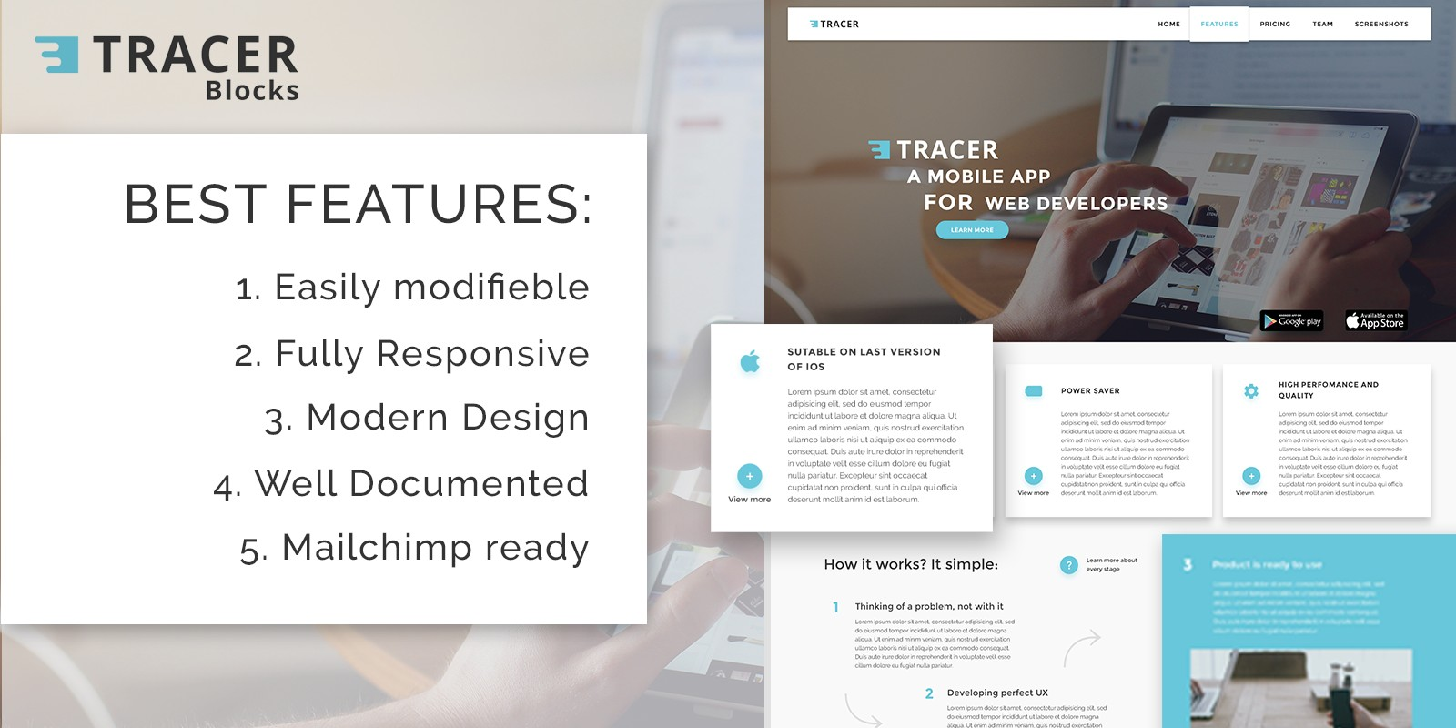 Tracer Blocks App Landing Page HTML Template HTML Technology - Landing page html template