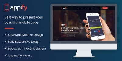 Appify - One Page Mobile App WordPress Theme