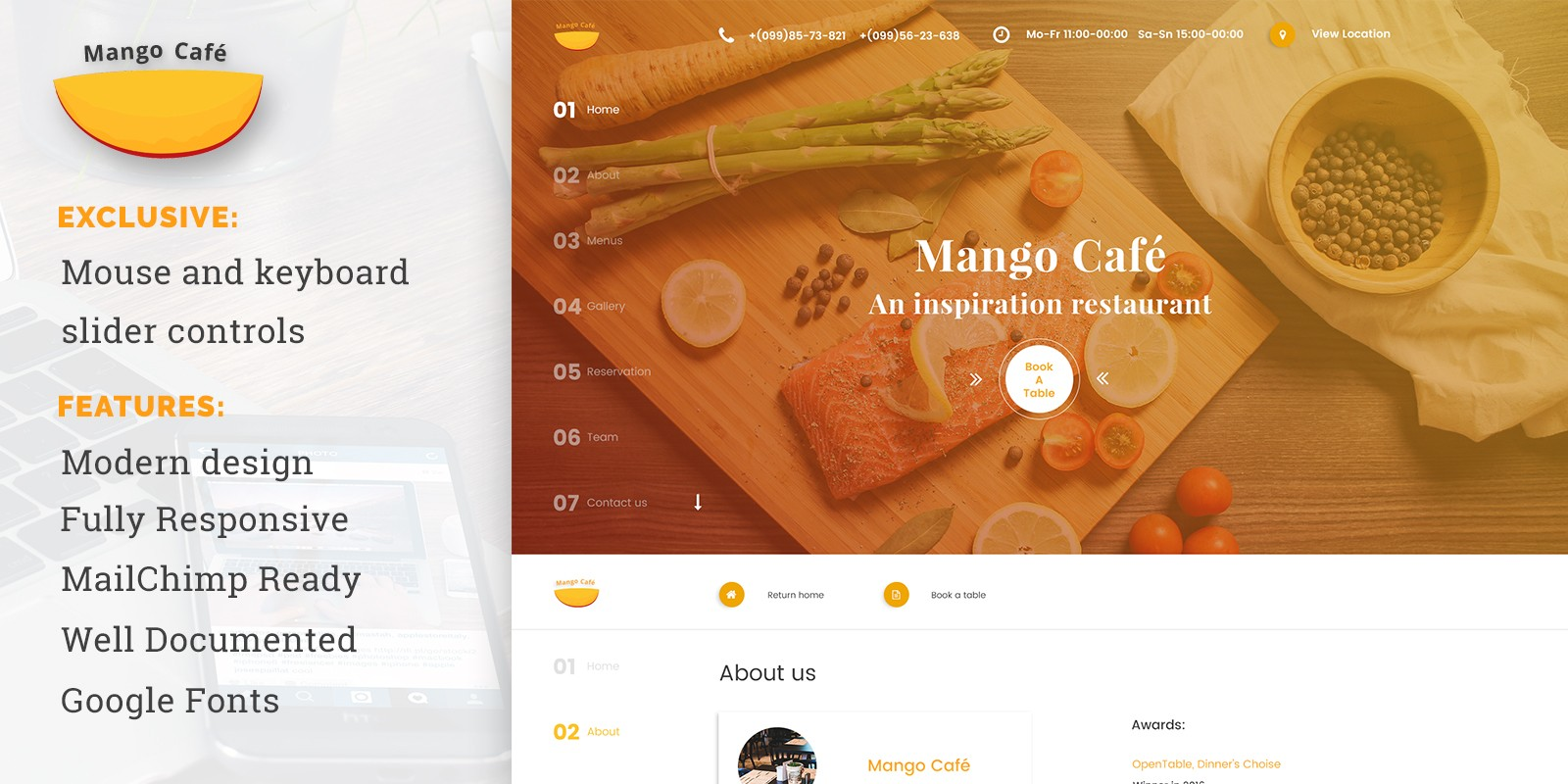 Mango Cafe - Restaurant HTML Template