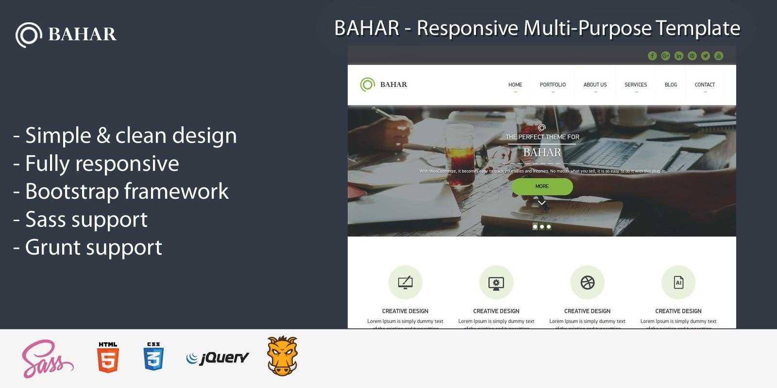 Bahar - Responsive  Multipurpose HTML Template