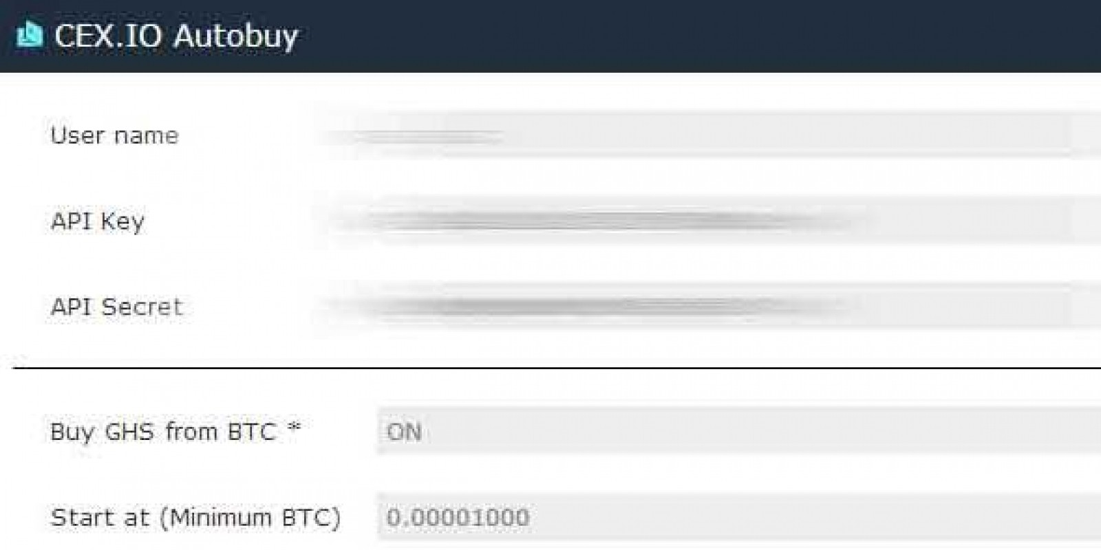 CEX.IO Bitcoin Autobuy GHS Script using Javascript