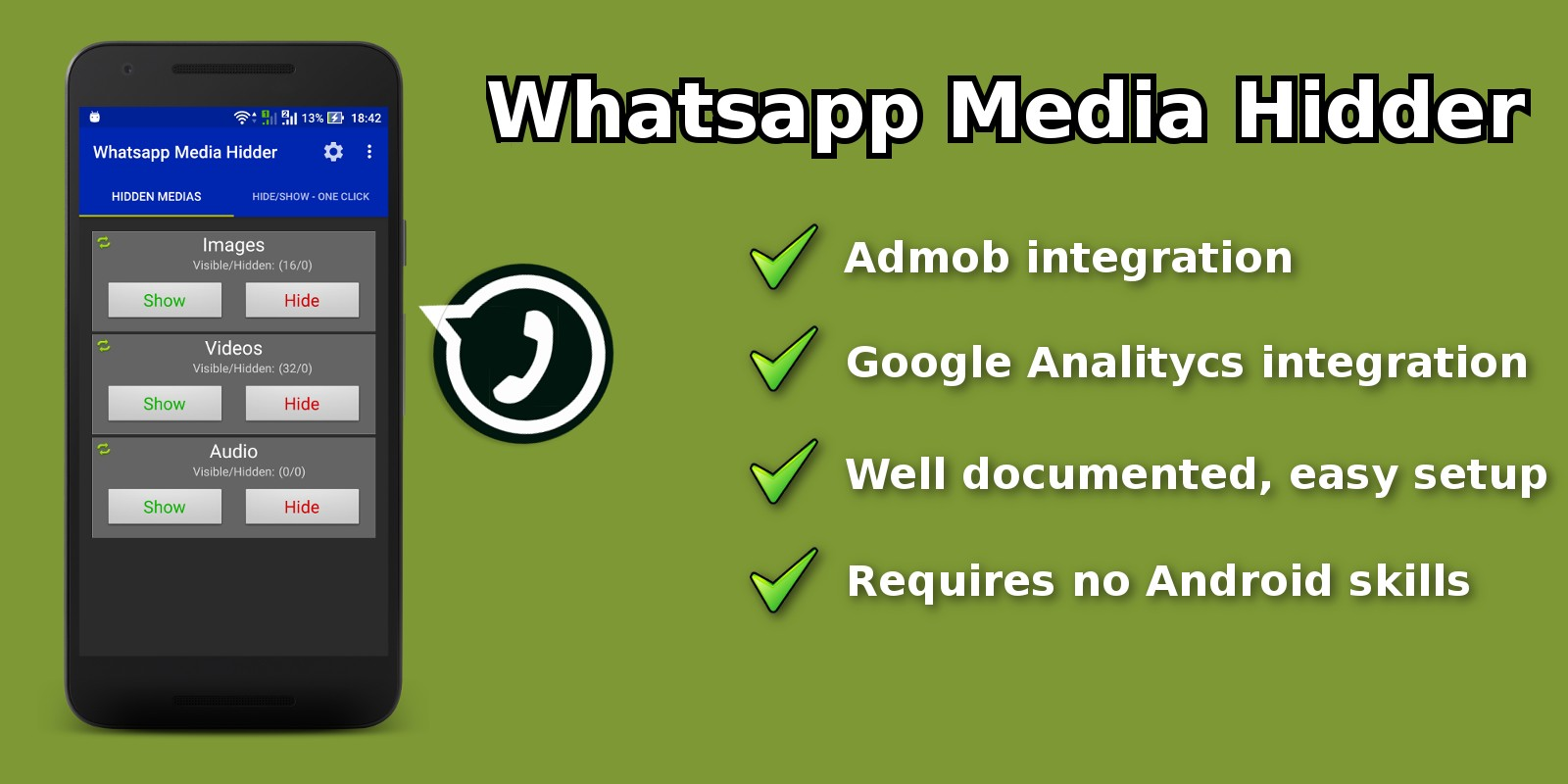 Whatsapp Media Hider - Android App Source Code