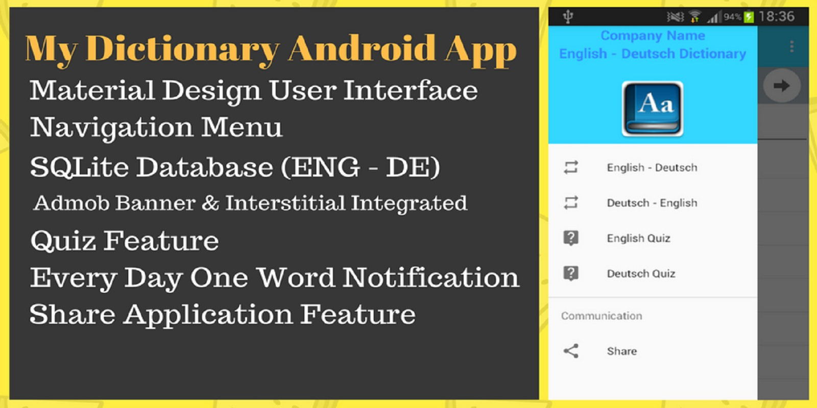 Android Dictionary App Source Code - Education And School App ...