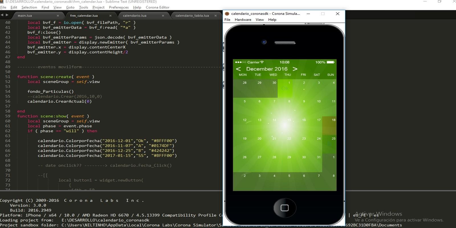 Gadget Calendario.Calendar Corona Sdk App Template