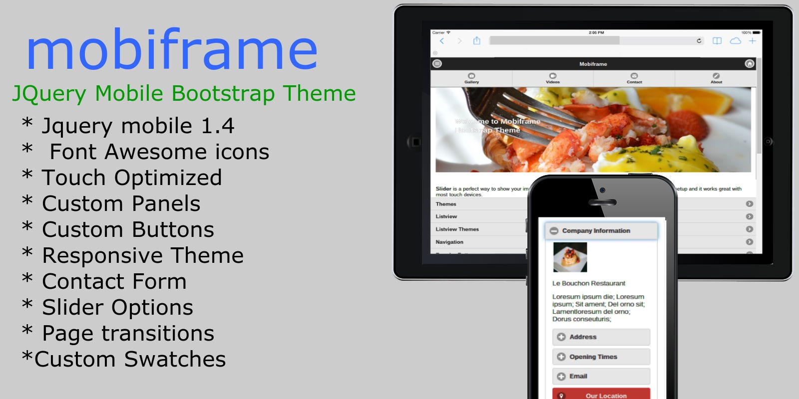 Mooiframe - jQuery Mobile Bootstrap HTML Template - HTML Mobile ...