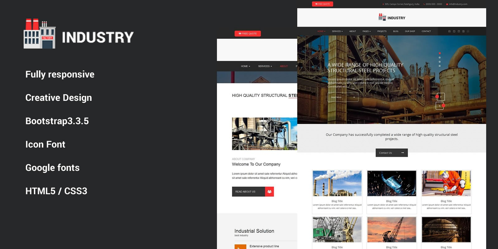 Industry - HTML Template - Miscellaneous HTML Website Templates ...