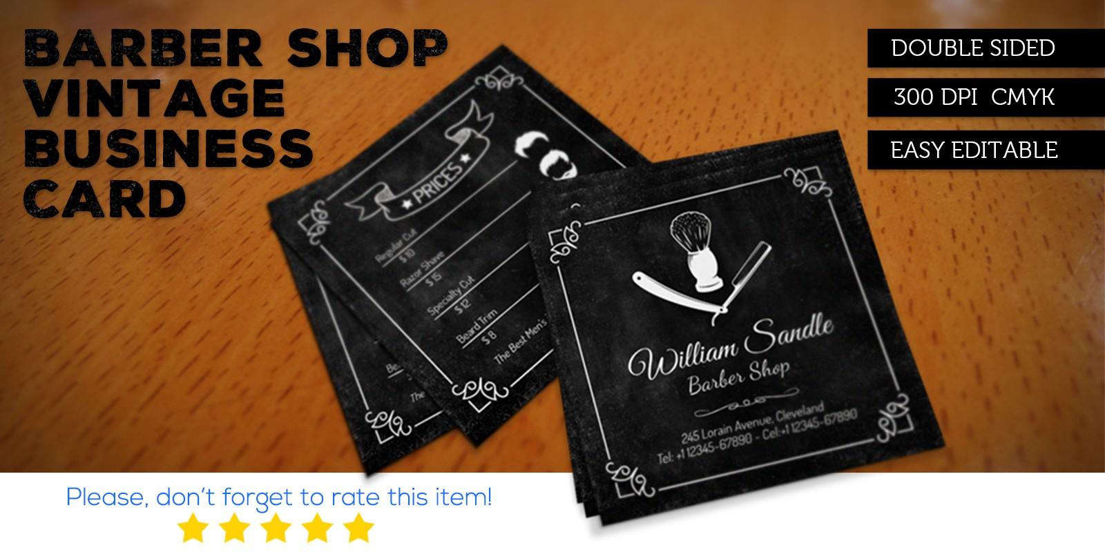 Barber Shop Vintage Business Card