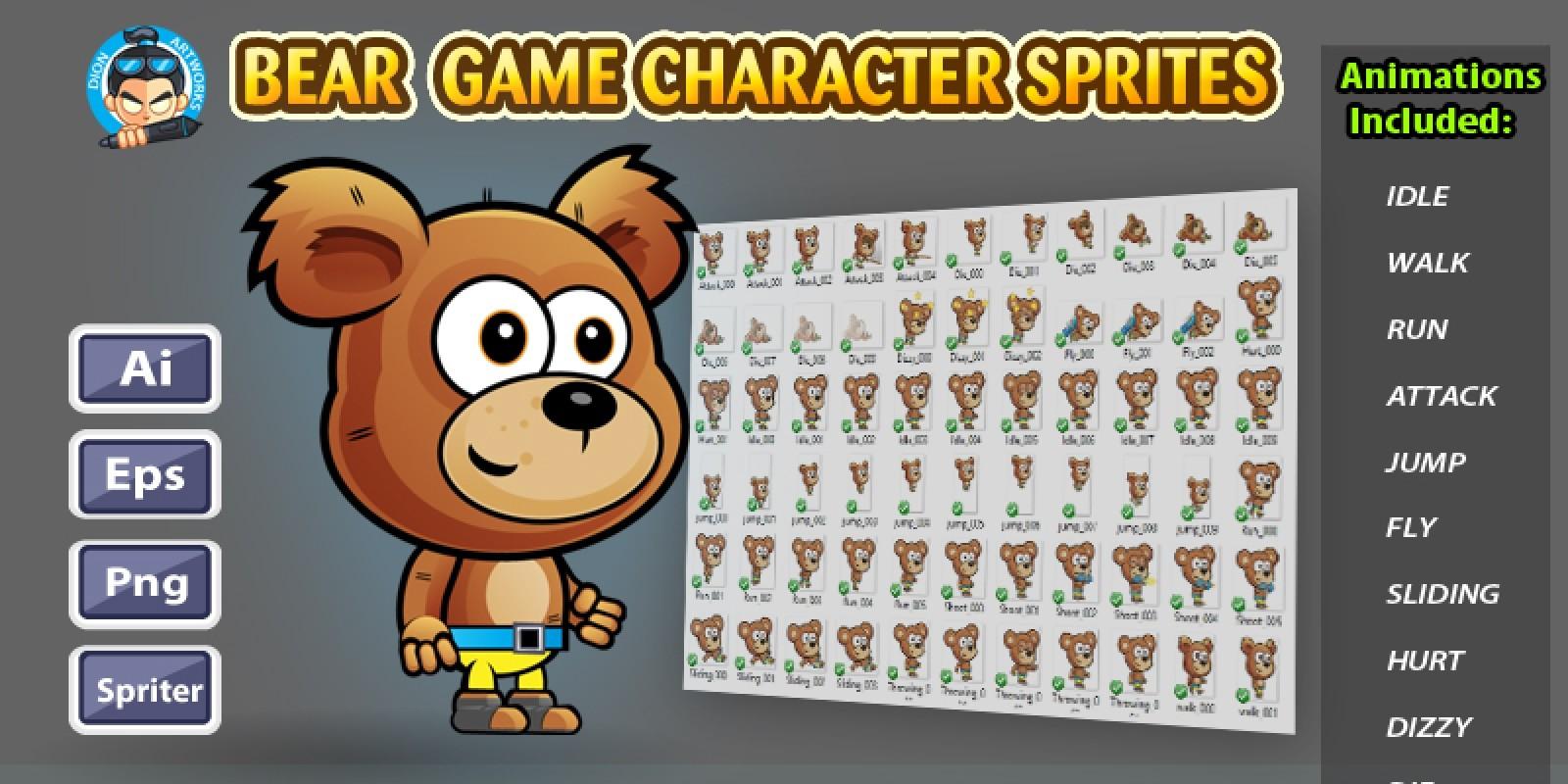 Bear 2D Game Characte Sprites