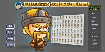 Barbarian King Game Character Sprites