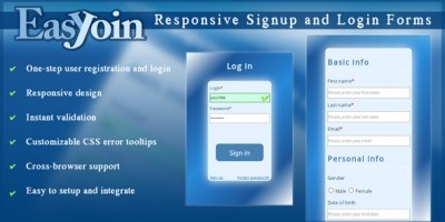 EasyJoin Responsive Signup and Login Form jQuery