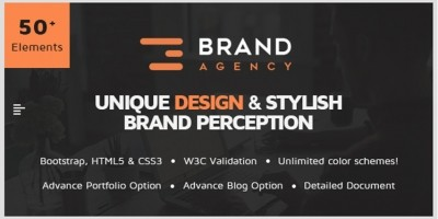 Brand Agency - One Page HTML Template For Agency