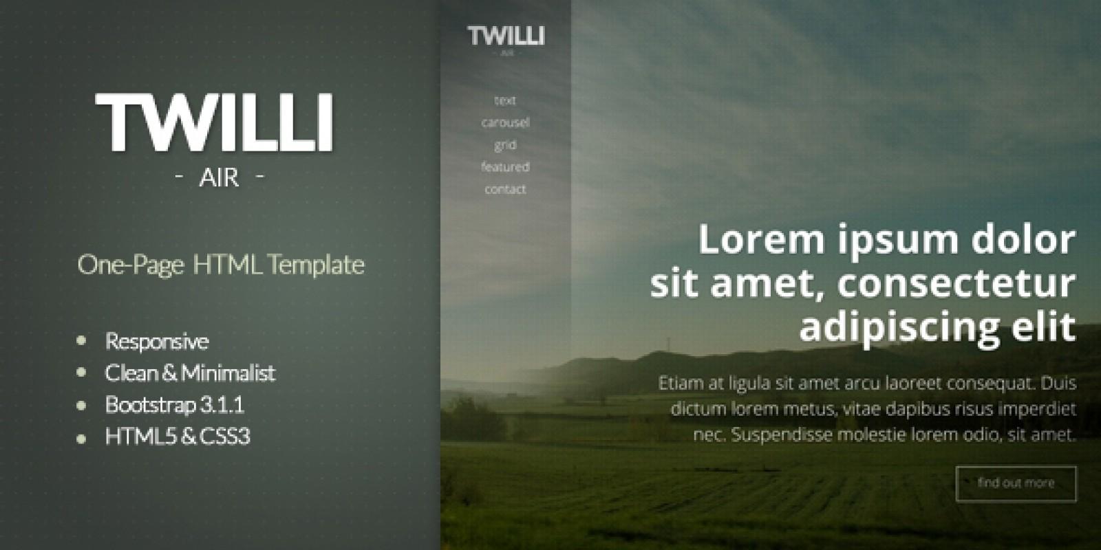 TWILLI Air - Minimalist OnePage HTML Template
