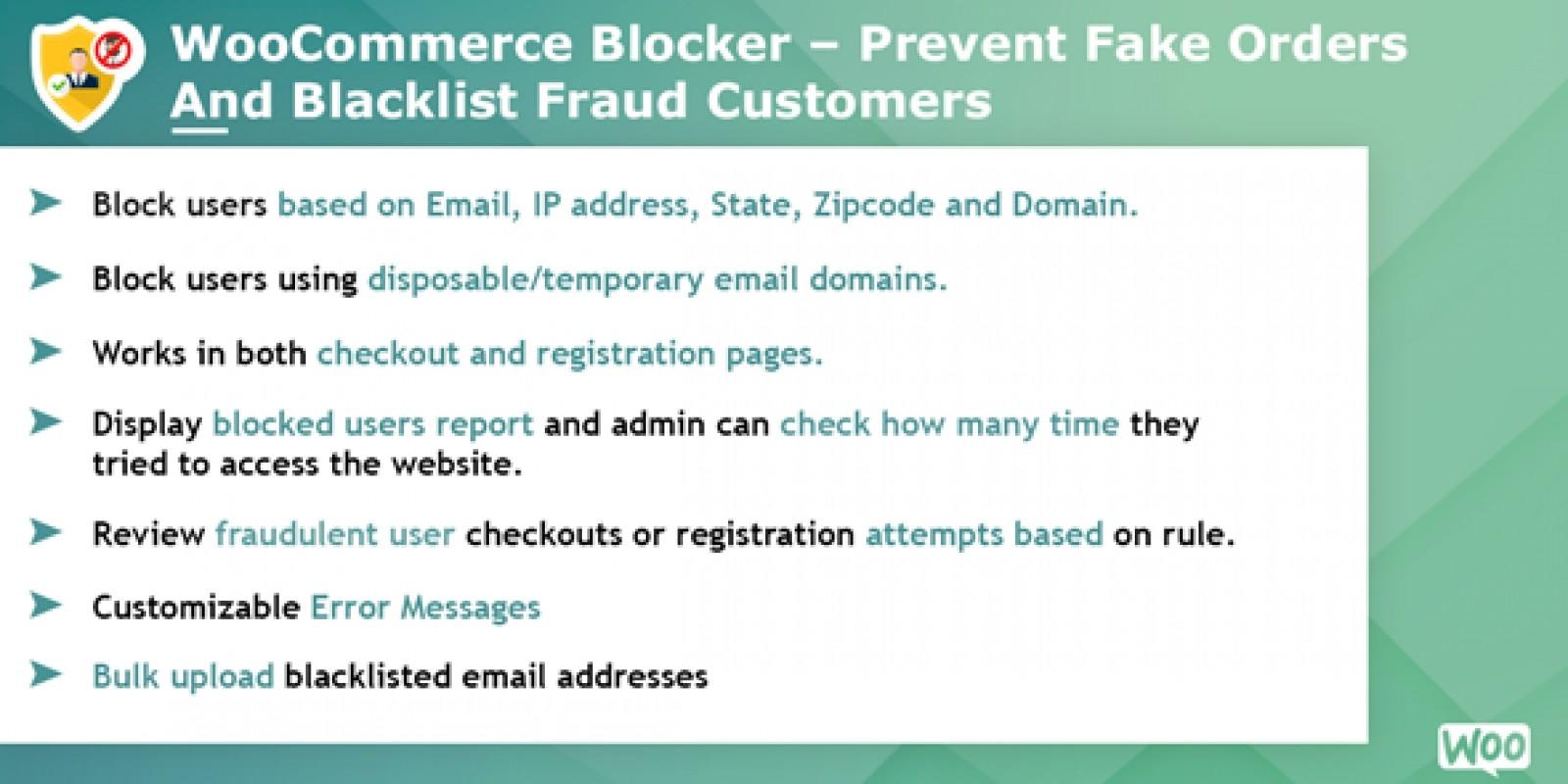 Woocommerce Blocker - Prevent fake orders