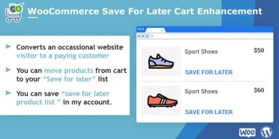 WooCommerce Save For Later Cart Enhancement