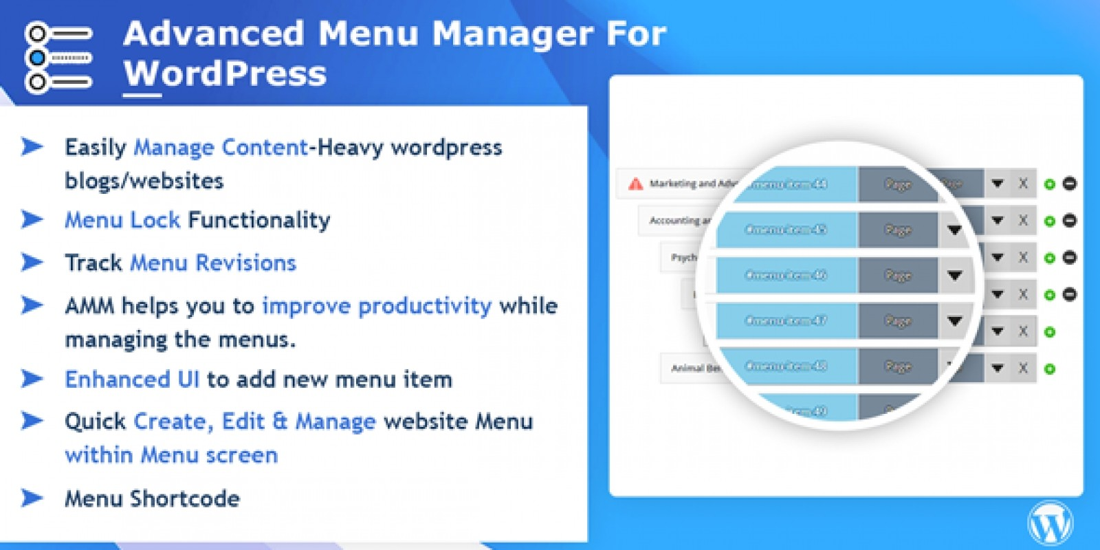 Advance Menu Manager For WordPress